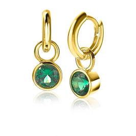 Zilveren oorbedels geelverguld met groene zirconia's