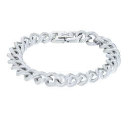 Gourmette Satin armband staal