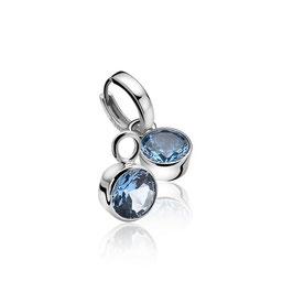 Zilveren oorbedels met blauwe zirconia's