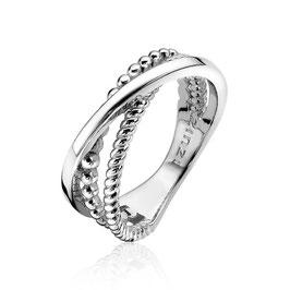 Zilveren Cross-Over Ring