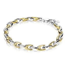 Zilveren schakelarmband geel verguld
