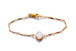 white druzy bracelet gold