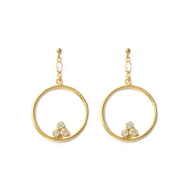 Long crystal hoops gold