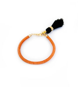 Orange ray-leather tassel bracelet