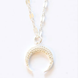 zirconia crescent necklace silver