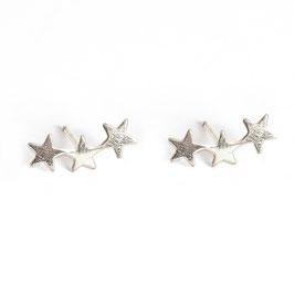 tripple star earrings silver