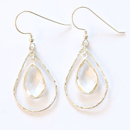 crystal teardrop earrings silver