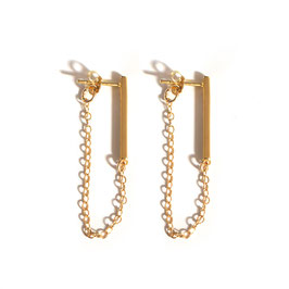 fine chain earrings with bar gold