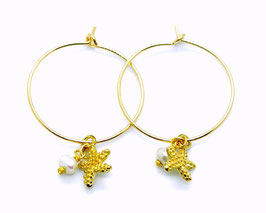 Sea star pearl Earrings gold