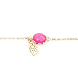 hot pink chalcedony bracelet gold
