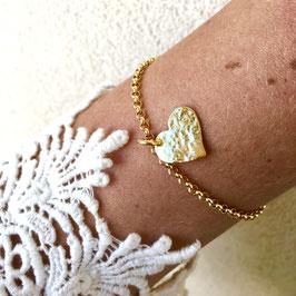 heart charm bracelet gold