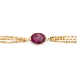 red ruby tripple bracelet gold