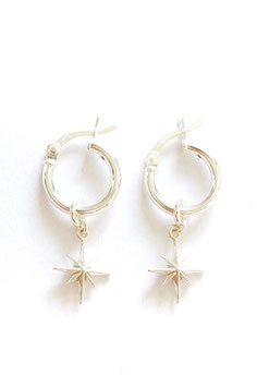 Small North Star Earrings silver