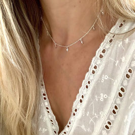 diamond choker teardrops silver