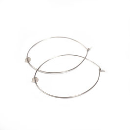 thin hoop earrings with small circle silver