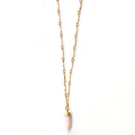 Petite pink opal spike gold