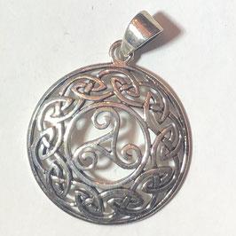Keltischer Knoten mit Triskele Anhänger Silber 925