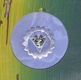 Erzengel Gabriel Engel der Klarheit Reinheit Lebensfreude. Donut Chalcedon 40 mm und Donuthalter aus 925er Silber.