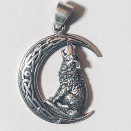 Wolf auf Mond Anhänger Silber 925