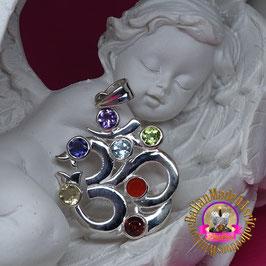 Chakra Anhänger OM aus 925er Silber mit 7 Edelsteinen (facettiert)