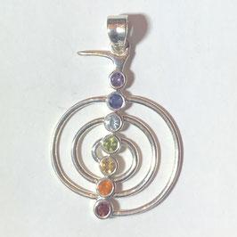 Chakra Anhänger Cho Ku Rei  aus 925er Silber mit 7 Edelsteinen (facettiert).