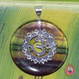 Erzengel Metatron Hüter des göttlichen Lichtes Donut Flourit 40 mm und Donuthalter aus 925er Silber.