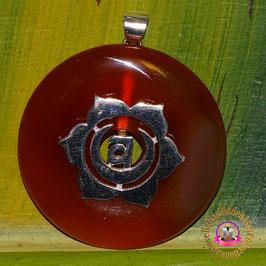 Erzengel Uriel Feuer des Lichts des Friedens und der Harmonie. Donut Bernstein ( Indonesien ) 40 mm und Donuthalter aus 925er Silber.