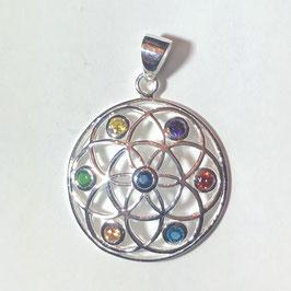 Blume des Lebens aus 925er Silber mit 7 Edelsteinen (facettiert).