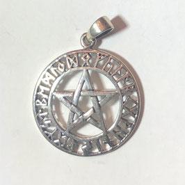 Keltisches Pentagram mit Runen Anhänger Silber 925