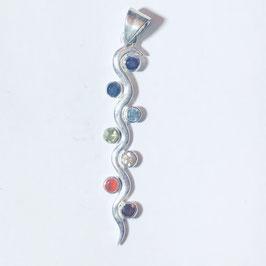 Chakra Anhänger Schlange aus 925er Silber mit 7 Edelteinen (facettiert)
