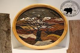 Lederbild Herbststimmung mit Baum und Bergen