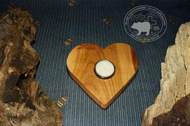 Holz Herz Kerzenständer aus Kirschbaumholz /4
