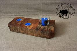 Holz Design Kerzenständer aus dunklem Nussbaum rustikal