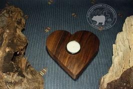 Holz Herz Kerzenständer aus Nussbaumholz /5