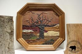 Lederbild Eichenbaum im Frühling