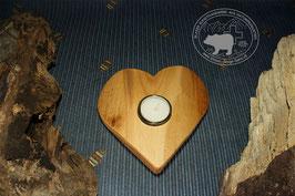 Holz Herz Kerzenständer aus Kirschbaumholz /3