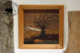 Lederbild Einsamer Baum