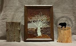 Lederbild Weisser Baum am See mit Spiegel