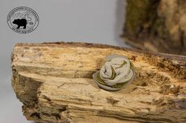 Lederbrosche Beige - Olivgrün