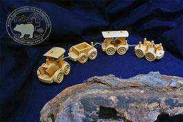 Holzspielzeug Eisenbahn mit drei Wagen / klein