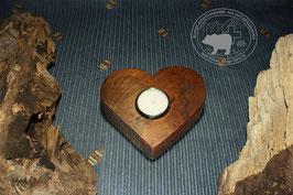 Herz Holz Kerzenständer aus Nussbaumholz /1