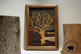 Lederbild Alter Baum im Herbst