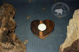 Holz Herz Kerzenständer aus Nussbaumholz /3