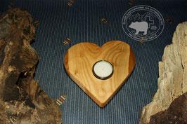 Holz Herz Kerzenständer aus Kirschbaumholz /2
