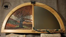 Lederbild - Rundbogenfenster - Birnbaum im Herbst mit Spiegel