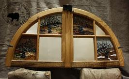 Lederbild - Rundbogenfenster - Kirschbaum in den Vierjahreszeiten mit Spiegel