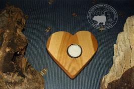 Holz Herz Kerzenständer aus Kirschbaumholz