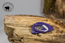 Lederbrosche Purpurviolett gemustert