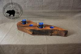 Holz Design Kerzenständer aus dunklem Nussbaum Tropfenform