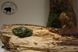 Lederbrosche Olivgrün-Silber